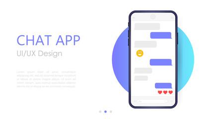 Fototapeta Mobile chat app mockup. UX or UI design. Smartphone Isolated on white background. Social network design template obraz