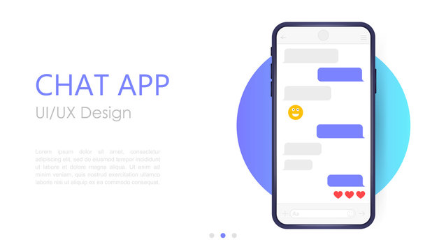 Mobile chat app mockup. UX or UI design. Smartphone Isolated on white background. Social network design template