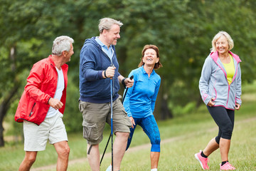 Active seniors in a hiking group Wall mural