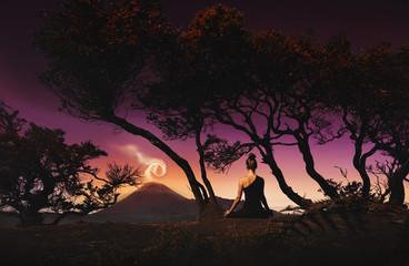 Serenity and yoga practicing, meditation near Bromo volcano, digital editing image