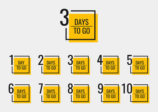 Days left to go from 1 to 10. Geometric banners design template for your needs. Modern flat style vector illustration