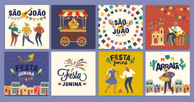 Brazilian Traditional Celebration Festa Junina. Portuguese Brazilian Text saying Friends Village. Festa de Sao Joao. Arraia Portuguese Brazilian Text saying Fair. Festive Typographic Vector Art.