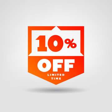 10% Red Price Tag. Discount 10% OFF Web Button. Special Discount Offer 10% Sale Badge.