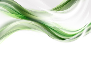 Wall Mural - White and green waves background. Abstract design.