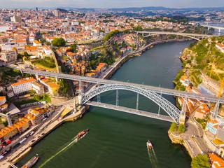 Porto city view with Douro river and Dom Luis I bridge, Portugal