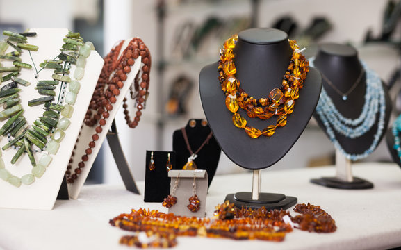 Womens jewelry from amber in a jewelry store