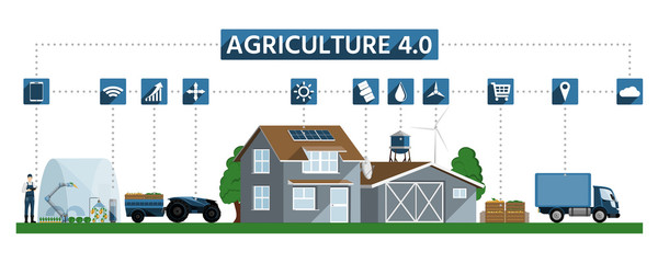 Etiqueta Engomada - Agricultural production, processing and logistic center for growing vegetables, using renewable energy and digital technology. Smart farming 4.0
