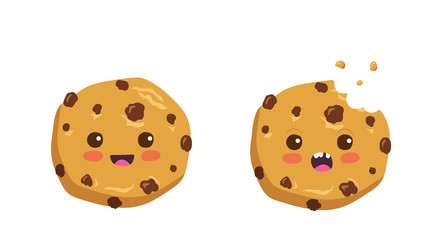 Kawaii cartoon chocolate chip cookie character with funny face. Cute happy cookie mascot vector illustration isolated on white. Kids menu design concept. Smiling and surprised face food emoji.
