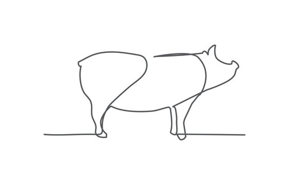 Pig One line drawing on white background