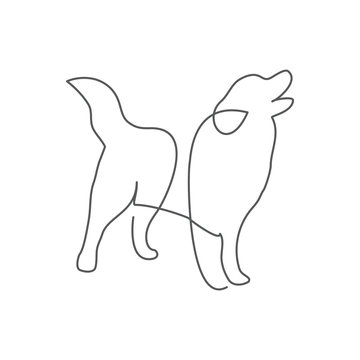 Dog One line drawing on white