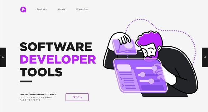 Presentation slide template or landing page website design. Business concept illustrations. Modern flat outline style. Software development tools
