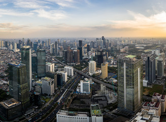 Aerial view of the Jakarta business district, along the Sudirman avenue, in Indonesia capital