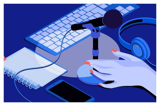 Music or podcast background with headphones, microphone, notebook,keyboard on table