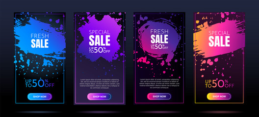 Vector banners. Modern art design. Element for design business cards, invitations, gift cards, flyers and brochures. Gradient brush. Sale banner template. Splash of colors