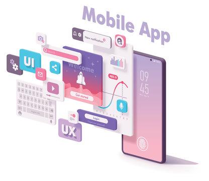 Vector mobile app creation illustration