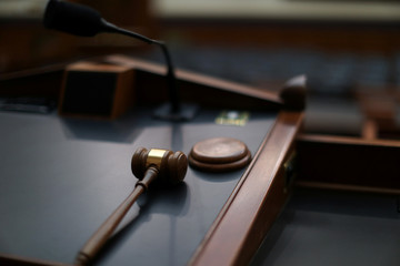 A gavel sits on the chairman's dais in U.S. House Judiciary Committee hearing room on Capitol Hill in Washington