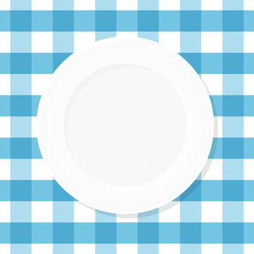 White empty plate on blue checkered tablecloth. Top view. Vector illustration, flat design