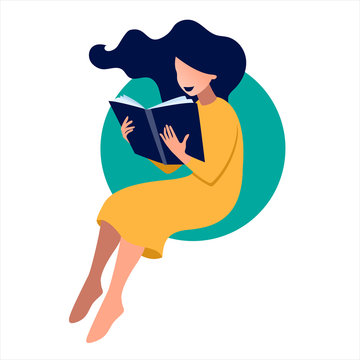 Vector illustration of girl reading a book in flat art style with circle background. Concept illustration of learning, distance studying and self education.