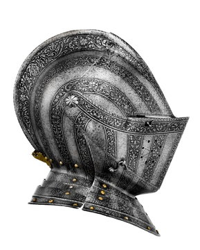 old ancient medieval helmet isolated on white