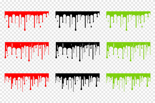 Dripping blood, slime and black silhouette vector set isolated on a transparent background.