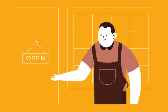 Owner small business and open door sign vector cartoon illustration.