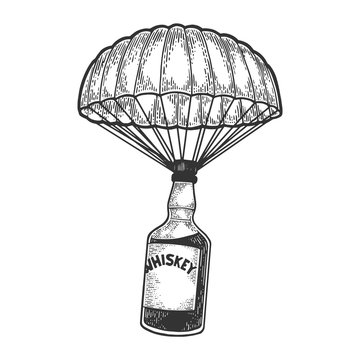 Whiskey alcohol bottle with ice and glasses walks on its feet sketch engraving vector illustration. Scratch board style imitation. Black and white hand drawn image.
