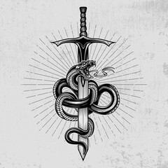 Snake wrapped around a sword. Hand drawn vector illustration in engraving technique with star rays and grunge background. Ancient symbol concept.