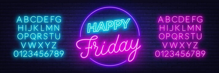 Fototapete - Happy Friday neon sign. Greeting card on dark background.