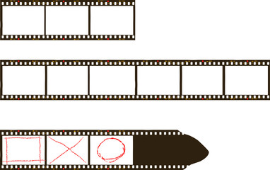 Wall Mural - frames of film, grungy photo film frames,filmstrips with free copy space,vector,fictional artwork