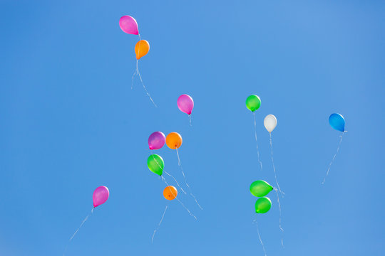 Colorful balloons flying in the blue skies festively