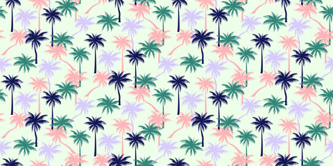 Holidays cheerful seamless pattern wallpaper of tropical palm trees in pink, green, purple on a light white background - Vector