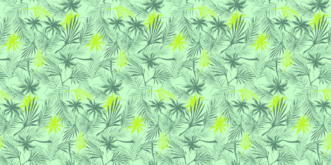 Beach cheerful seamless pattern wallpaper of tropical green and yellow leaves of palm trees on a light turquoise background - Vector