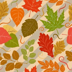 Autumn Leaves Fall Season Vector Seamless Pattern Textile Design