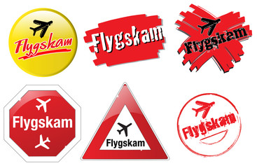 """""""Flygskam"""" buttons say that some people have a guilty conscience when flying by plane."""