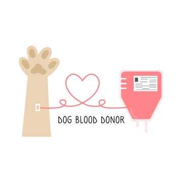 Dog donor concept. Blood donation. Vector illustration