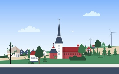 Fototapete - Horizontal landscape with town neighborhood with private houses or residential buildings, tower, park and wind turbines on hills. Small city or village. Vector illustration in flat cartoon style.