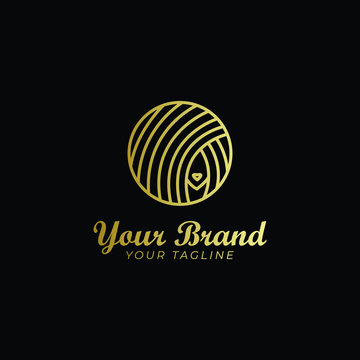 logo template of woman's hair in a circle and monoline shape