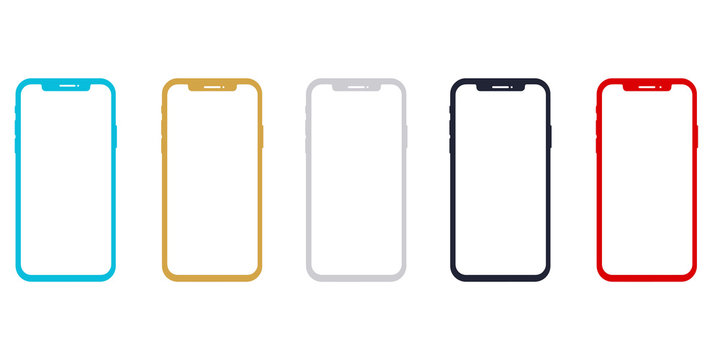 iPhone X smartphone mockup frame template. iPhone smartphone mockups vector.