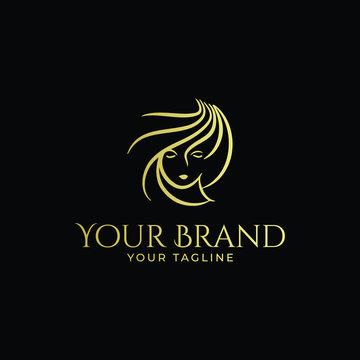 luxury minimalist monoline logo of woman face and hair in gold