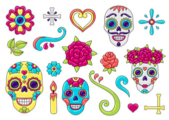 Day of the Dead items set. Sugar skulls with floral ornament.