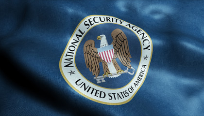 3D Waving Flag of the United State of National Security Agency Corps Closeup