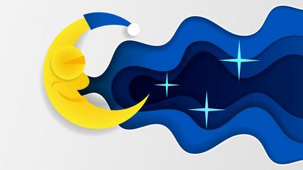 Night Sky Art Design Moon Star Paper Cartoon Sleep Vector Illustration Background Graphic Cloud Nature