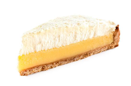 Slice of lemon meringue pie isolated on white.