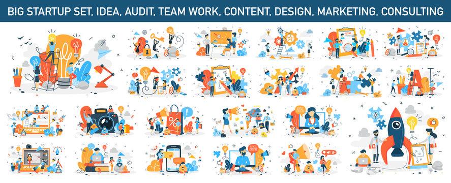 Big business web banner concept set. Web page