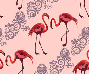 Canvas Prints Tropical wildlife, flamingo seamless pattern. Hand Drawn jungle nature, flowers illustration. Print for textile, cloth, wallpaper, scrapbooking
