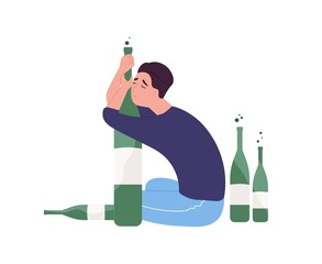 Obraz Unhappy man sitting on floor and hugging bottle.Young guy with alcohol addiction isolated on white background. Alcoholic, dipsomaniac, boozer or drinker. Flat cartoon colorful vector illustration. - fototapety do salonu