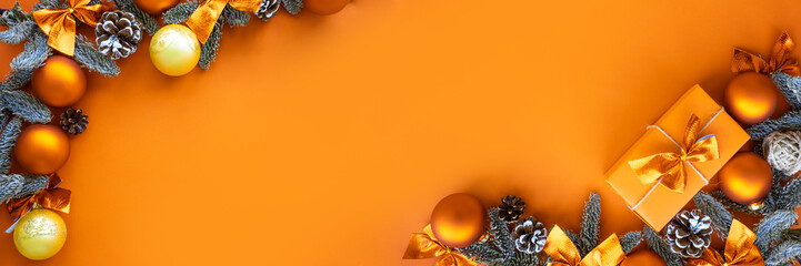 Christmas composition.  Background with gift box and decorations.