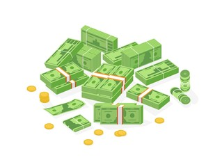 Collection of isometric cash money or currency. Set of Dollar bills or banknotes in packs, rolls and bundles and cent coins isolated on white background. Colorful isometric vector illustration.