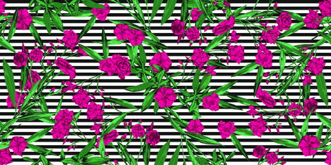 Summer tropical floral pattern over black and white stripes background - Pink, green, black and white seamless pattern for textiles, backdrops, paper - vector