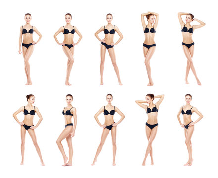 Young, sporty and fit girl in black underwear. Isolated background. Set collection. Fitness Concept.